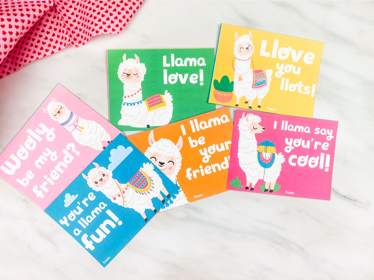 llama valentine's day cards for kids