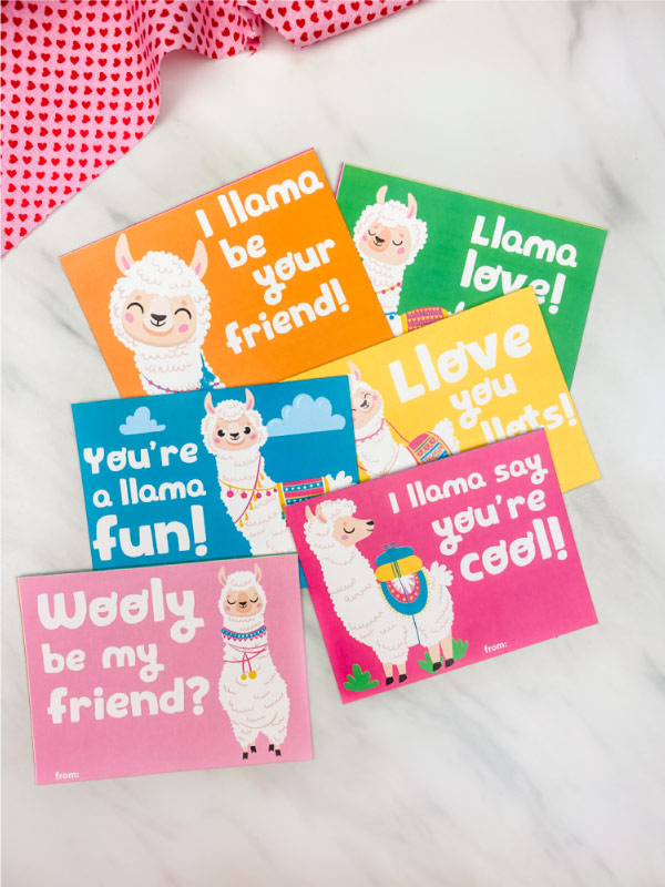 llama valentine cards