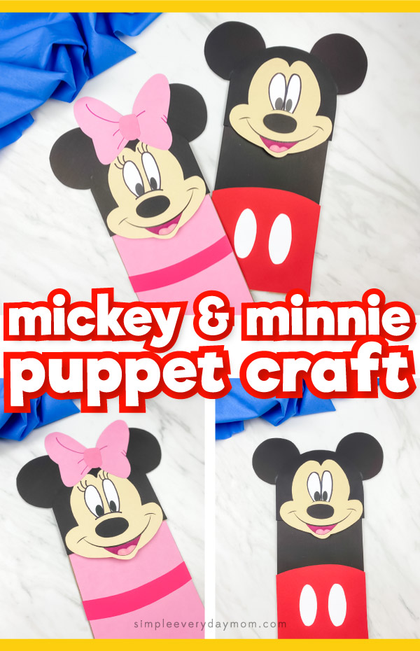 "collage of mickey and minnie mouse paper bag puppet images with words ""mickey & minnie puppet craft"" in middle"
