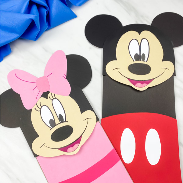 square mickey and minnie mouse puppet craft