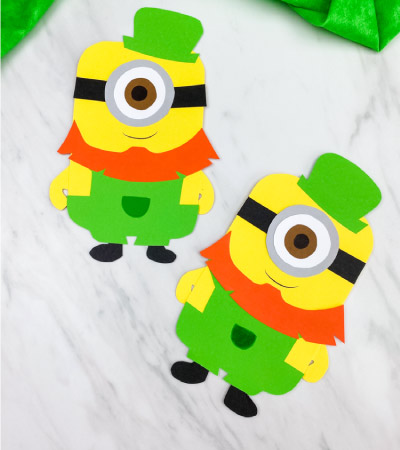 2 leprechaun paper minion crafts