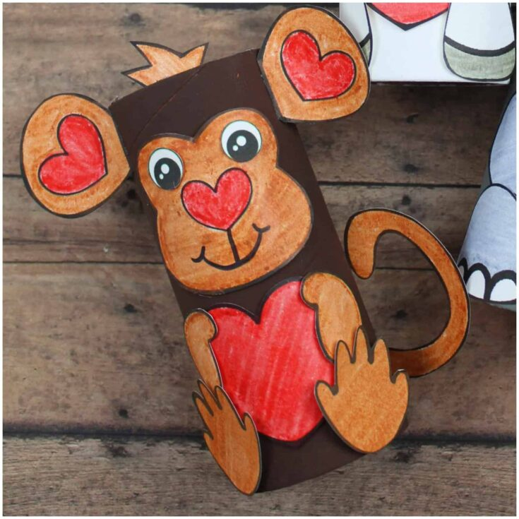 Valentines Day Craft Idea Toilet Tube Monkey