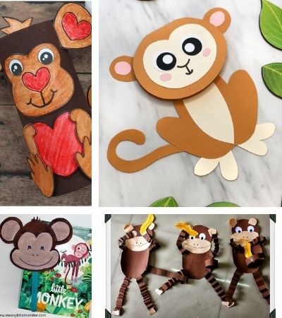 Collage of monkey craft images