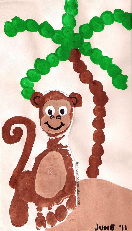 Footprint Monkey Craft and Fingerprint Palm Tree