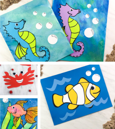 Collage of ocean animal crafts