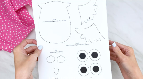 hand holding owl craft template