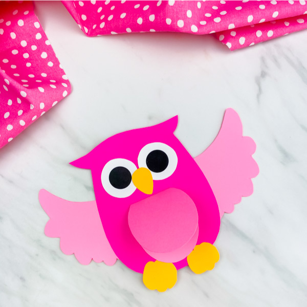 pink owl paper craft