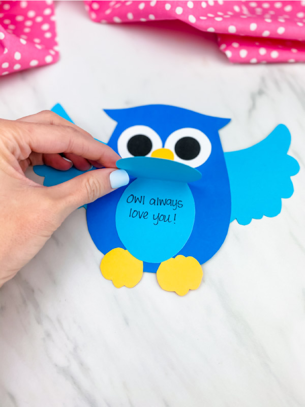 hand opening blue owl card craft