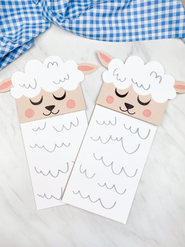 Two paper bag sheep crafts