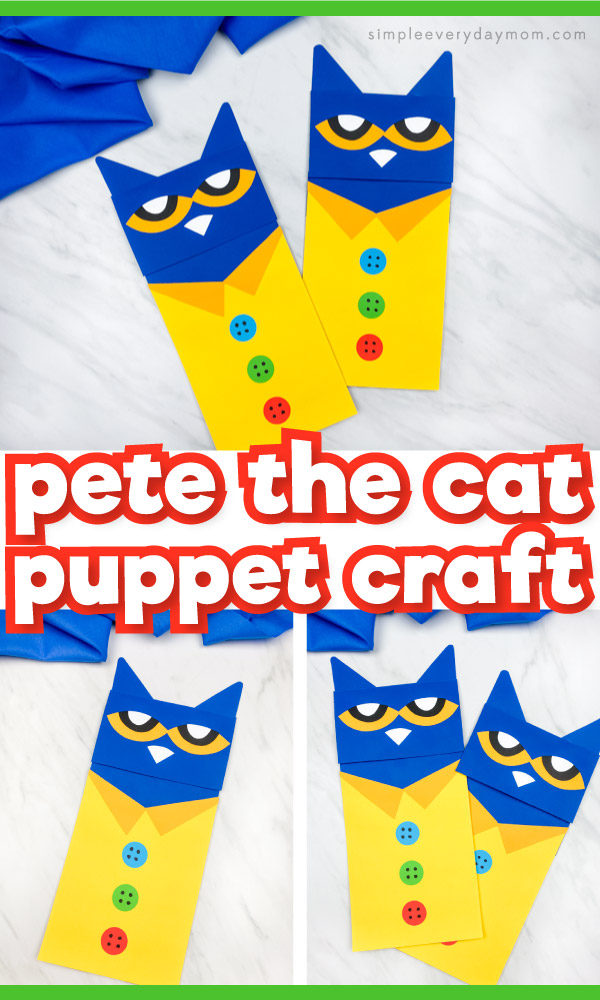 "Pete the Cat paper bag puppet image collage with the words ""Pete the cat puppet craft"" in the middle"