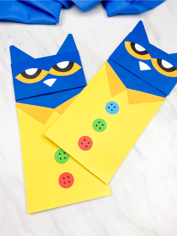 Two Pete the cat paper bag puppet crafts