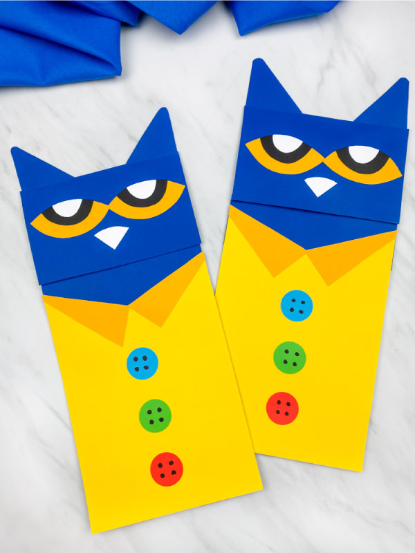 2 pete the cat paper bag puppet crafts