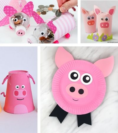 Collage of pig craft images