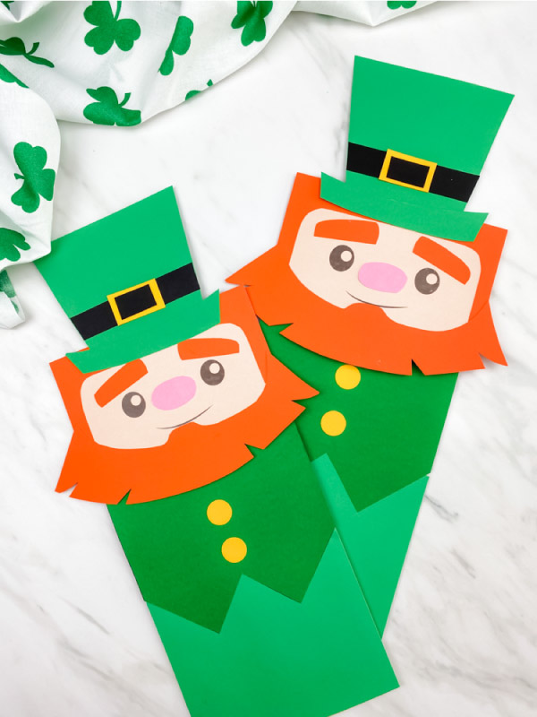 Two leprechaun puppet crafts