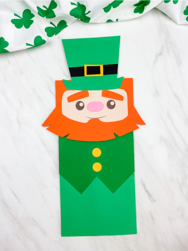 leprechaun paper bag puppet craft