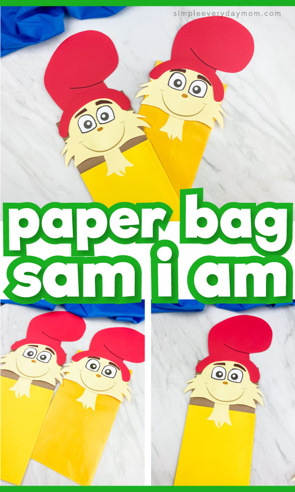 """Sam I Am paper bag puppet craft image collage with the words """"paper bag Sam I Am"""" in the middle"""