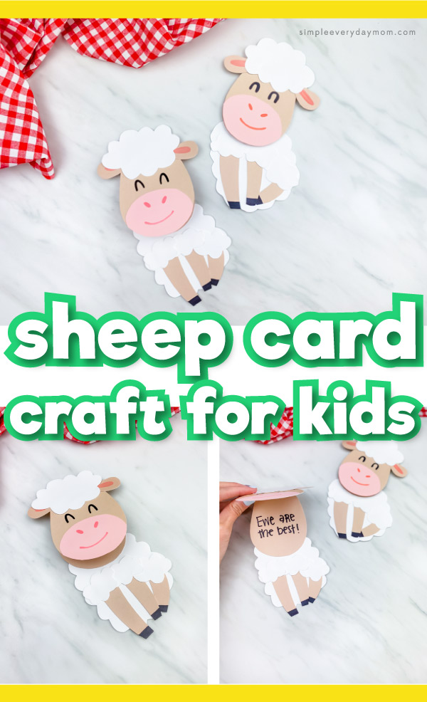 "Collage of sheep card craft images with the words ""sheep card craft for kids"" in the middle"