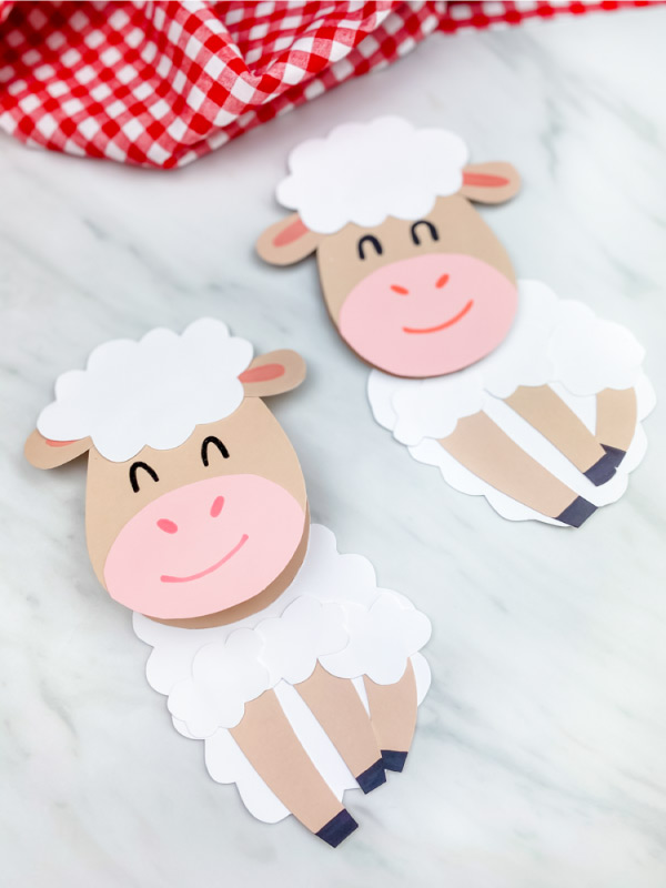 two paper sheep card crafts