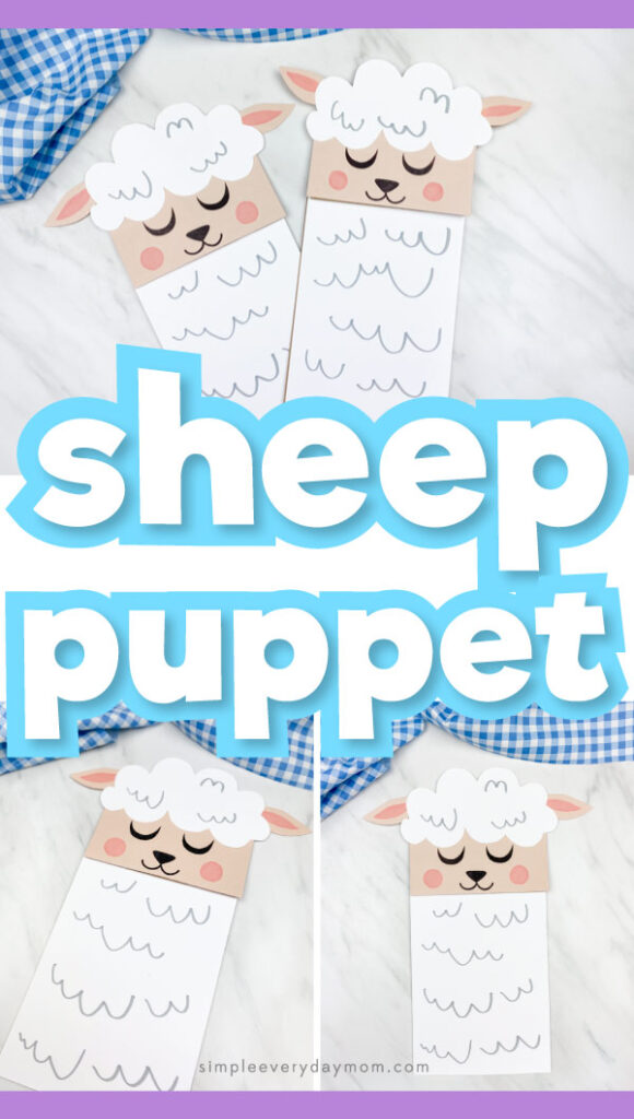 "Collage of sheep paper bag puppet craft images with the words ""sheep puppet"" in the middle"