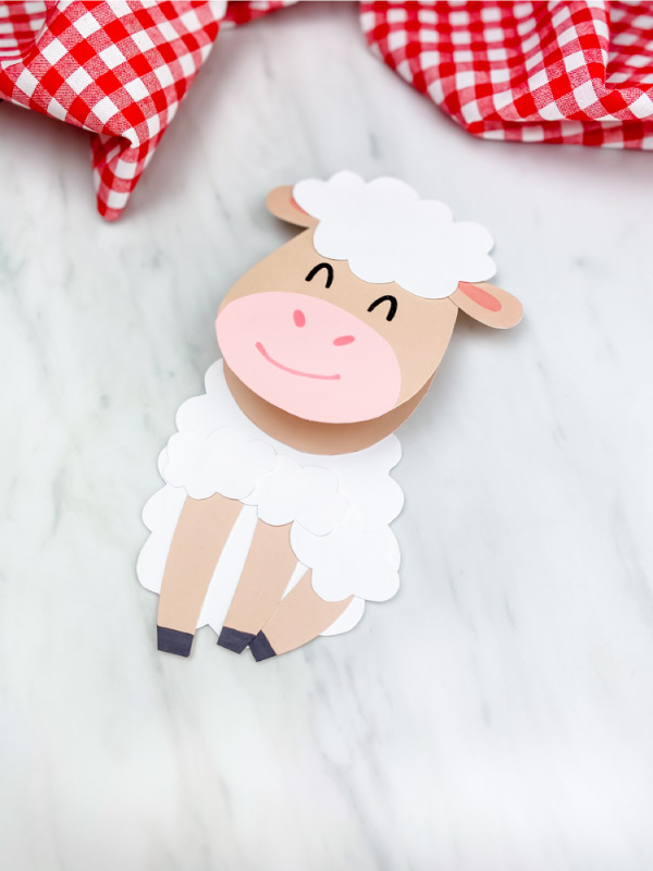 one paper sheep card craft