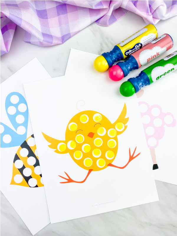 Chick dot marker printables with dot markers