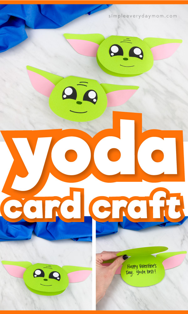 Paper Yoda card craft images with the words yoda card craft in the middle