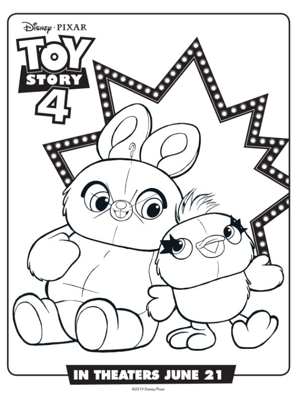 Ducky and bunny coloring page