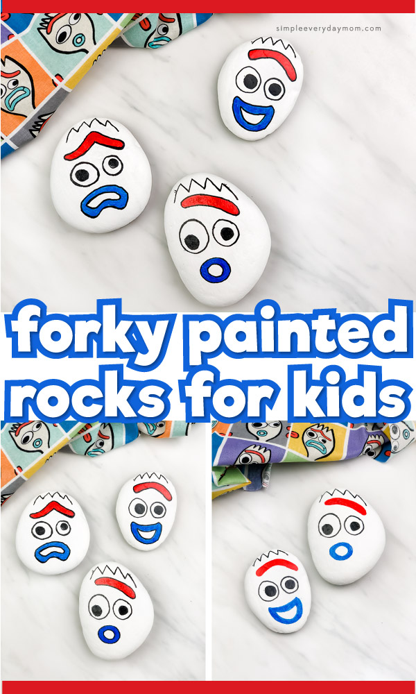 "collage of forky painted rock images with words ""forky painted rocks for kids"" in the middle"