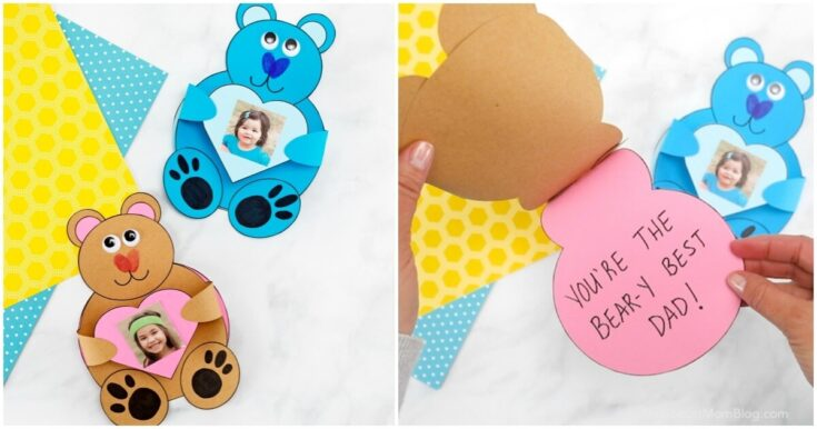 Teddy Bear Card w/ Kid's Photo - 3D Craft for Father's Day