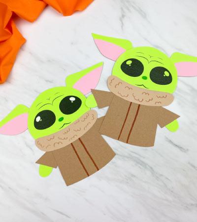 2 paper baby yoda crafts