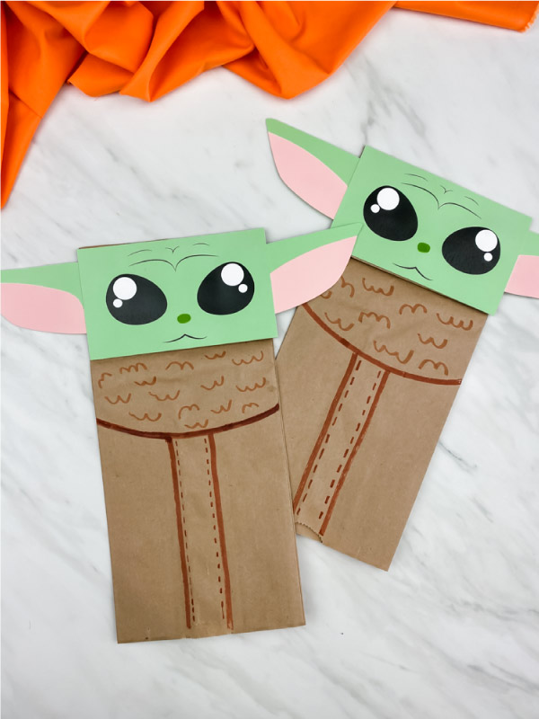 Brown paper bag yoda craft