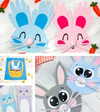 Collage of bunny crafts for kids