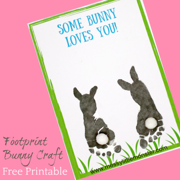Footprint Bunny Craft - FREE printable keepsake card
