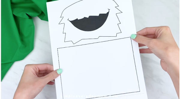 hand holding cookie monster puppet template