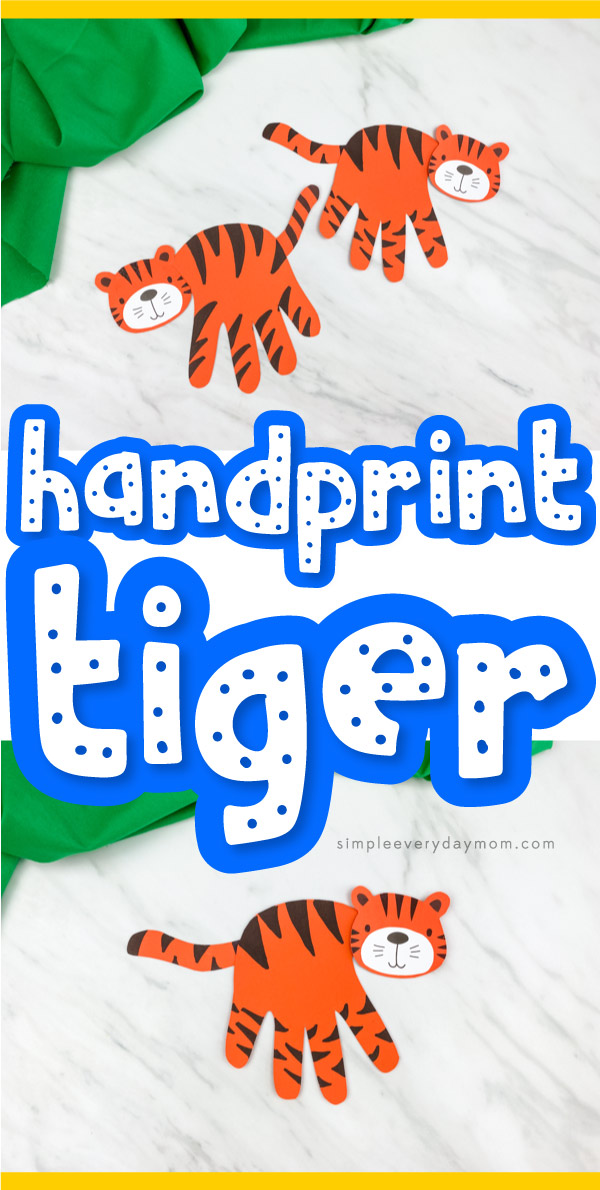 "collage of handprint tiger craft images with words ""handprint tiger"" in the middle"