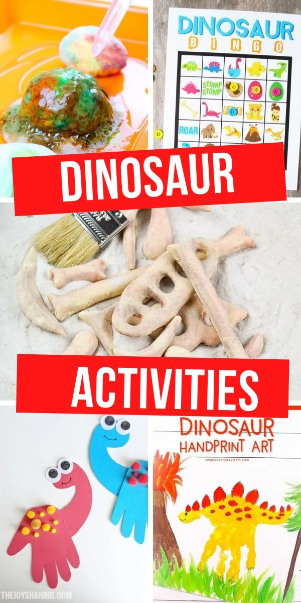 Collage of dinosaur activities for kids with the words dinosaur activities on it