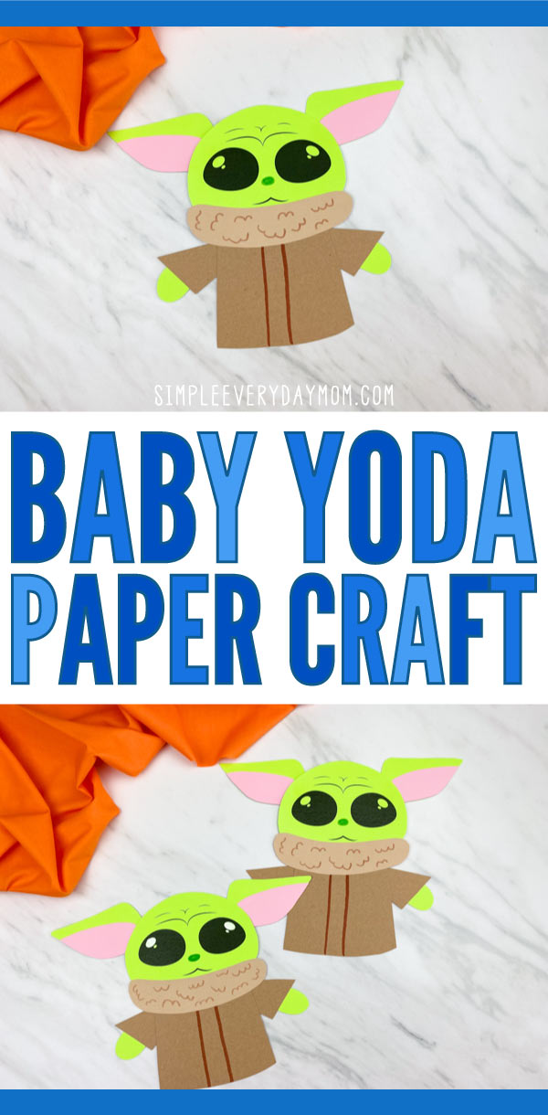 "collage of paper baby  yoda craft with words ""baby yoda paper craft"" in the middle"