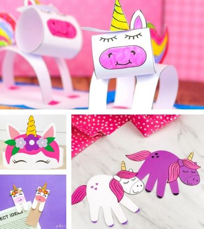 Collage of unicorn crafts for kids