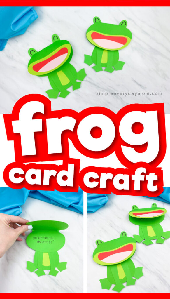 "frog card craft image collage with the words ""frog card craft"" in the middle"