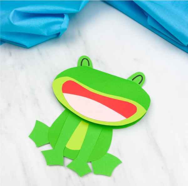 Closeup of paper frog card craft