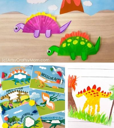 Collage of dinosaur activities for kids