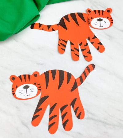 2 handprint tiger crafts