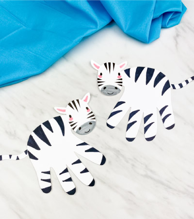 2 handprint zebra crafts