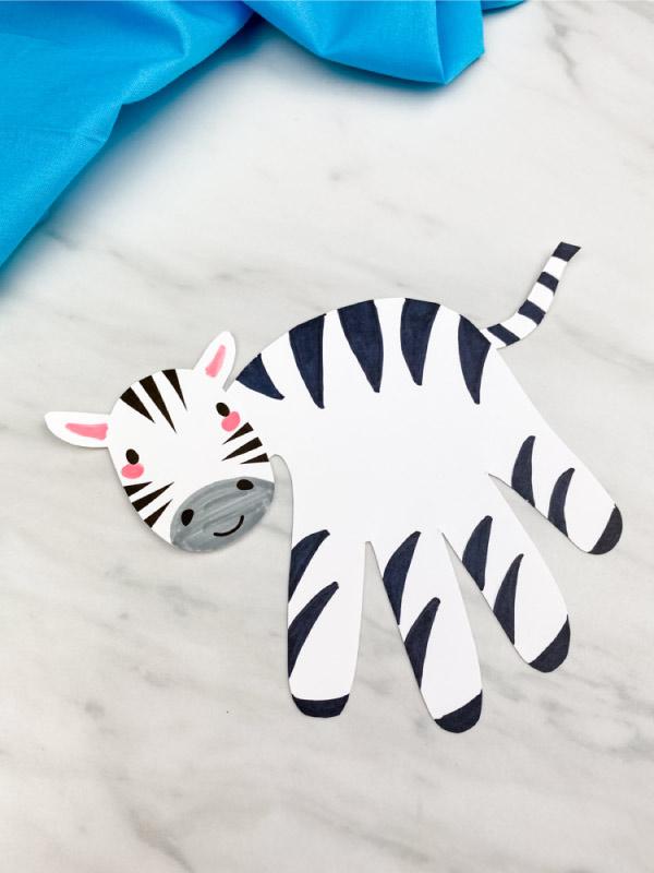 closeup of handprint zebra craft
