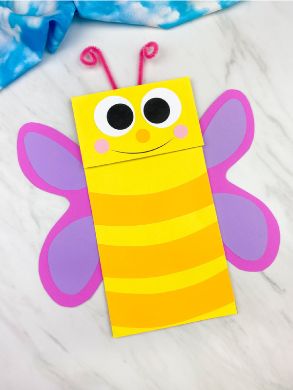 pink winged butterfly puppet craft