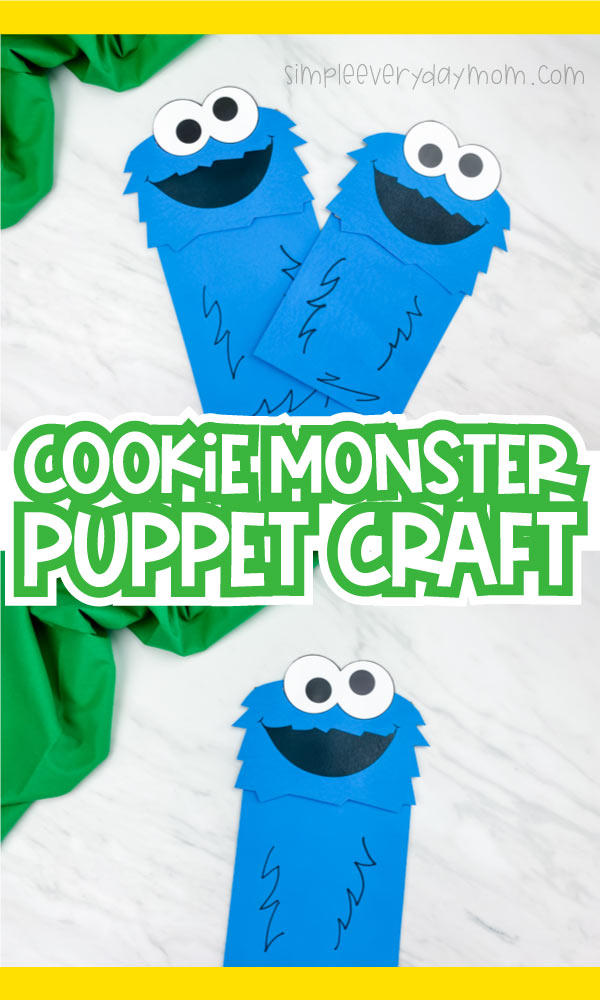 "collage of two cookie monster puppet images with the words ""cookie monster puppet craft"" in the middle"