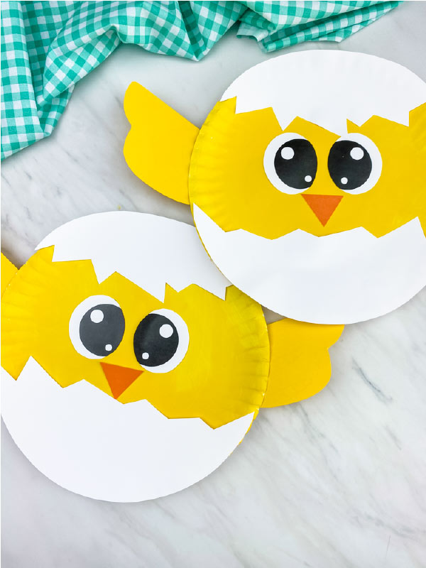 two paper plate chicks
