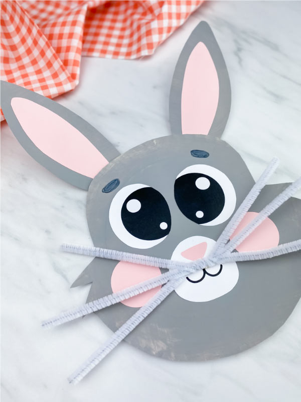 gray paper plate bunny