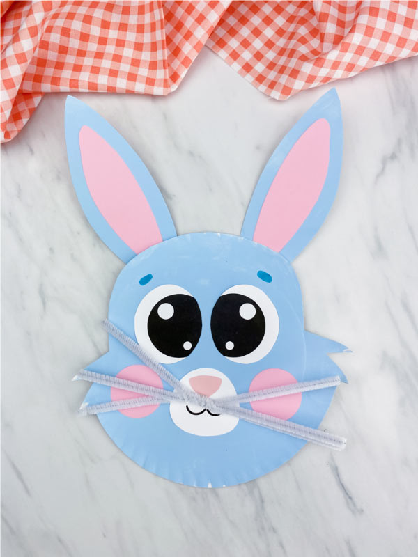 blue paper plate bunny