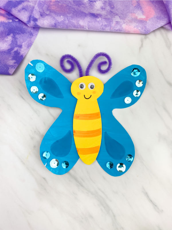 blue paper plate butterfly